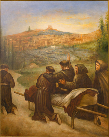 convento: CORDOBA, SPAIN - MAY 27, 2015: The scene St. Francis of Assisi benedicite before death the town Assisi. in church Convento de Capuchinos (Iglesia Santo Angel). Paint from 20. cent. by unknown artist