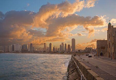 jafo: TEL AVIV, ISRAEL - MARCH 2, 2015: The coast under old Jaffa and Tel Aviv in morning.