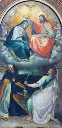 nebbia: ROME, ITALY - MARCH 26, 2015: The Coronation of Virgin Mary paint from side chapel in church Chiesa di Santo Spirito in Sassia by Cesare Nebbia (1512 - 1590).