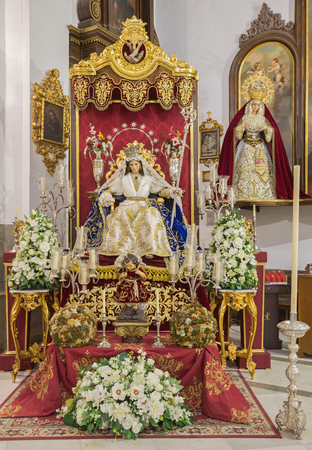 vested: CORDOBA, SPAIN - MAY 27, 2015: The  vested statue of Madonna and child Jesus as the Shepherds (Divina Pastora) in church Convento de Capuchinos (Iglesia Santo Angel).