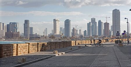 jafo: TEL AVIV, ISRAEL - MARCH 2, 2015: The waterfront under old Jaffa and Tel Aviv in morning. Editorial