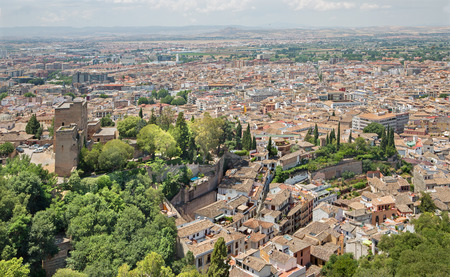 Granada - The outlook over the town from Alhambra fortress. Editorial