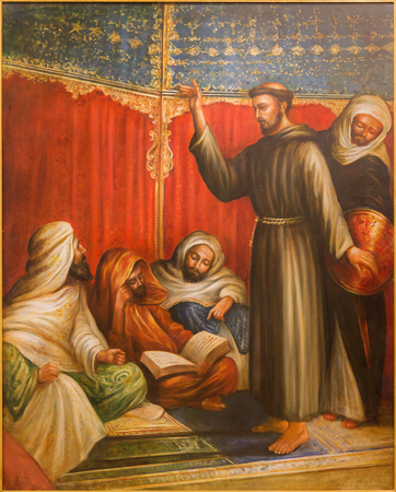 crusade: CORDOBA, SPAIN - MAY 27, 2015:  St. Francis of Assisi before sultan Melek el Kamel during one of crusade in church Convento de Capuchinos. The modern paint of 20. cent. by unknown artist.