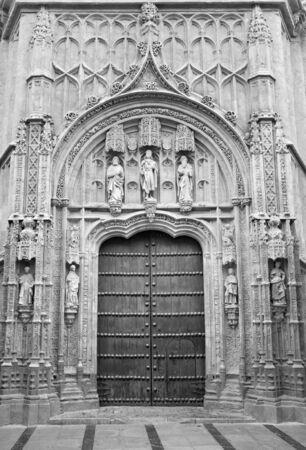 ruiz: CORDOBA, SPAIN - MAY 26, 2015: The gothic portal of Royal hospital San Sebastian built to a design by Hernan Ruiz, el Viejo (1512 - 1516) Editorial