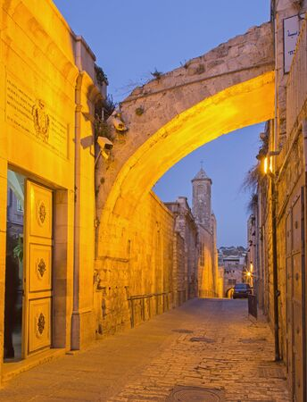 flagellation: JERUSALEM, ISRAEL - MARCH 6, 2015: Via Dolororosa and the entry in the church of Flagellation at dusk. Editorial