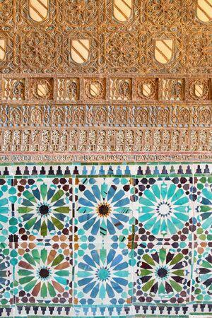 bartolome: CORDOBA, SPAIN - MAY 26, 2015: The detail of mudejar stucco and tiling in Capilla San Bartolome chapel. Editorial