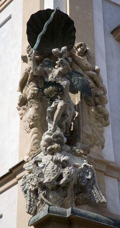 republik: PRAGUE, CZECH REPUBLIK, SEPTEMBER 12, 2010: St. Michael baroque statue on the facade of house in Little quarter.