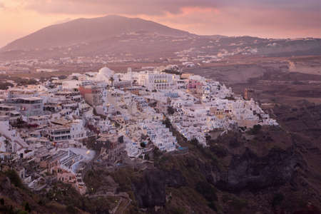 firostefani: Santorini - The Fira at morning dusk from Firostefani Stock Photo