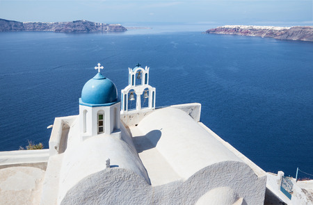 typically: Santorini - The look to typically little church Theoskepasti in Imerovigli under the Scaros.