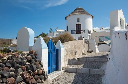 typically: Santorini - The little typically aisle in Oia. Stock Photo