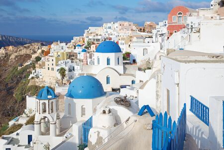 typically: Santorini - The look to typically blue church cupolas in Oia.