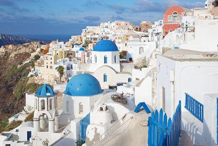 cupolas: Santorini - The look to typically blue church cupolas in Oia.