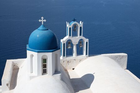 typically: Santorini - The detail of typically little church Theoskepasti in Imerovigli under the Skaros. Stock Photo