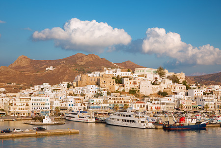 chora: CHORA, GREECE - OCTOBER 6, 2015: The town Chora (Hora) on the Naxos island at evening light in the Aegean Sea.