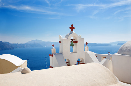 ia: Santorini - The detail of typically little church in Oia (Ia) Stock Photo