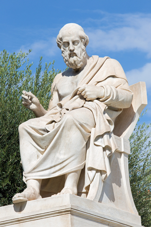 plato: Athens - The statue of Plato in front of National Academy building by the Italian sculptor Piccarelli (from 19. cent.)