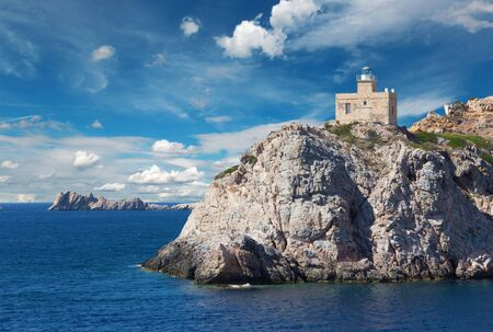 ios: The lighthouse of Greek island Ios in the Cyclades group in the Aegean Sea