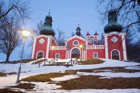 calvary: Banska Stiavnica - The lower church of baroque calvary built in years 1744 - 1751 in winter dusk.
