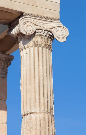 ionic: Athens - The detail of Ionic capital of Erechtheion on Acropolis in morning light.
