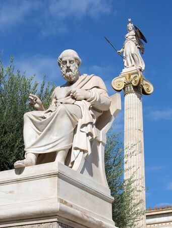 plato: Athens - The statue of Plato in front of National Academy building by the Italian sculptor Piccarelli (from 19. cent.) and the Athena statue on the background. Editorial