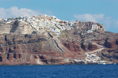 ia: Santorini - The Oia (Ia) on the cliffs of calera. Stock Photo
