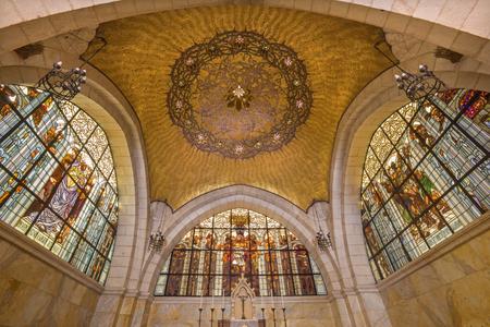 flagellation: JERUSALEM, ISRAEL - MARCH 4, 2015: The cupola of sancutary in Church of Flagellation on Via Dolorosa from begin of 20. cent. by architect Antonio Barluzzi (windowpane Cesare Picchiarini).