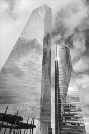 cristal: MADRID, SPAIN - MARCH 11, 2013: Skyscraper Torre de Cristal by Cesar Pelli & Associates Architects and Torre Espacio by architect Henry N. Cobb