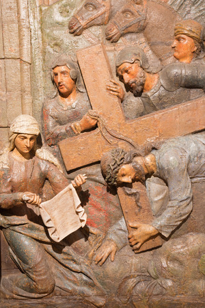calvary: BANSKA STIAVNICA, SLOVAKIA - FEBRUARY 5, 2015: The carved relief Veronica wipes the face of Jesus. as the part of baroque Calvary from years (1744 - 1751) by Dionyz Stanetti.