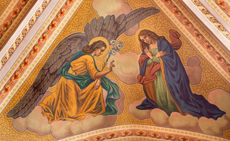 angel gabriel: BANSKA STIAVNICA, SLOVAKIA - FEBRUARY 5, 2015: The Annunciation fresco on the ceiling of parish church from year 1910 by P. J. Kern. Editorial