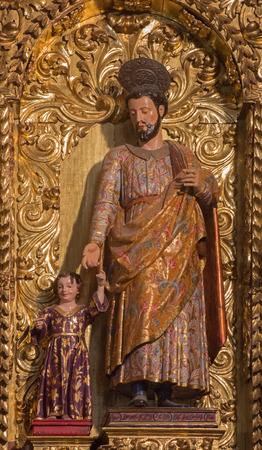 convento: CORDOBA, SPAIN - MAY 26, 2015: The carved polychrome baroque statue of st. Joseph in church of Monastery of st. Ann and st. Joseph (Convento de Santa Ana y San Jose).