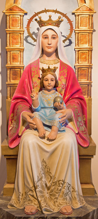mary mother of jesus: BETHLEHEM, ISRAEL - MARCH 6, 2015: The carved statue of Madonna from 20. cent. by unknown artist in Milk Grotto chapel as the gift from Venezuela.