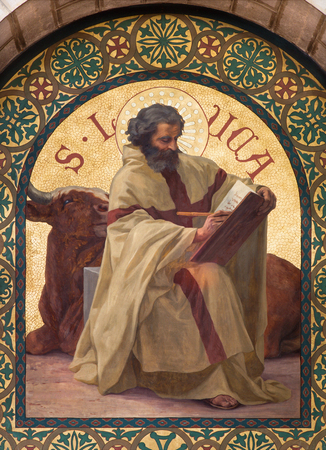 Luke: JERUSALEM, ISRAEL - MARCH 5, 2015: The paint of Saint Luke the Evangelist in st. Stephens church from year 1900 by Joseph Aubert.