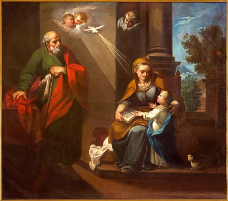 CORDOBA, ESPAÑA - 27 de mayo, 2015: El st. Joachim, poco Virgen María y San. Ann en la iglesia del Convento de Capuchinos (Iglesia Santo Anchel) por artis desconocido de 18. ciento.
