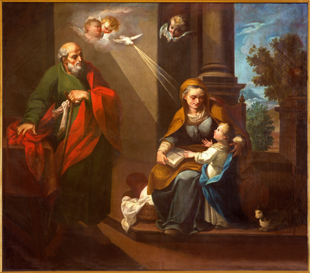 new testament: CORDOBA, SPAIN - MAY 27, 2015: The st. Joachim, little Virgin Mary and st. Ann in church Convento de Capuchinos (Iglesia Santo Anchel) by unknown artis of 18. cent.