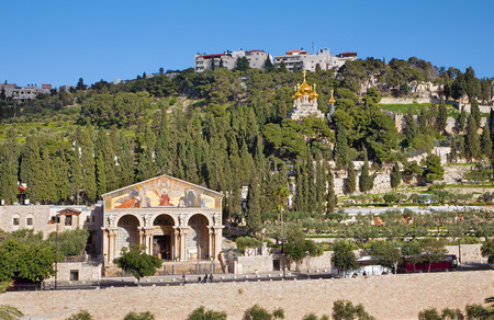 church architecture: JERUSALEM, ISRAEL - MARCH 3, 2015: The churches - Church of All Nations (Basilica of the Agony), Dominus Flevit and The Russian orthodox church of Hl. Mary of Magdalene on the Mount of Olives.