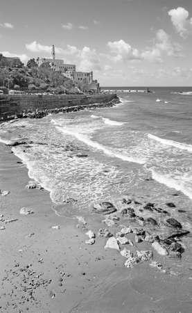 jaffa: TEL AVIV, ISRAEL - MARCH 2, 2015: The waterfront and beach under old Jaffa in Tel Aviv