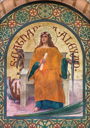 religiosity: JERUSALEM, ISRAEL - MARCH 5, 2015: The paint of Saint Catharine of Alexandria early christian martyr in st. Stephens church from year 1900 by Joseph Aubert.
