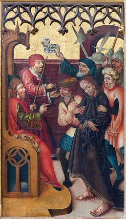 judgment: NEUBERG AN DER MURZ, AUSTRIA - SEPTEMBER 13, 2015: The paint of Jesus judgment for Pilate on side altar of gothic Dom by unknown artist from year 1505.