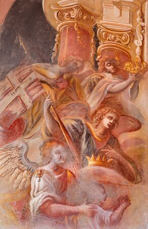 anton: BANSKA STIAVNICA, SLOVAKIA - FEBRUARY 20, 2015: The detail of angels in fresco on cupola in the middle church of baroque calvary by Anton Schmidt from years 1745.