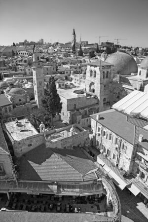 church of the holy sepulchre: Jerusalem - Outlook over the old town with the Church of Holy Sepulchre.