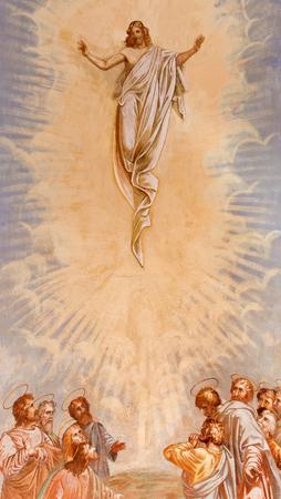 Banská ?tiavnica, Slovacchia - 20 febbraio 2015: L'Ascensione di Cristo affresco della chiesa mezzo di calvario barocco di Anton Schmidt da anni 1745. Archivio Fotografico - 47980970