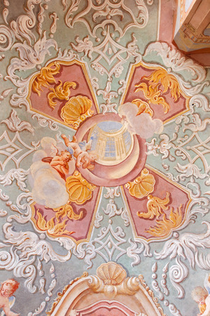 anton: BANSKA STIAVNICA, SLOVAKIA - FEBRUARY 20, 2015: The fresco in the lower church of baroque calvary by Anton Schmidt from years 1745 in the Chapel of the Sacred heart.