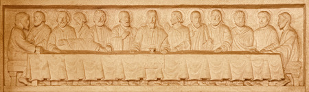 church architecture: JERUSALEM, ISRAEL - MARCH 3, 2015: The Last supper stone relief in Evangelical Lutheran Church of Ascension by unknown artist of 20. cent.