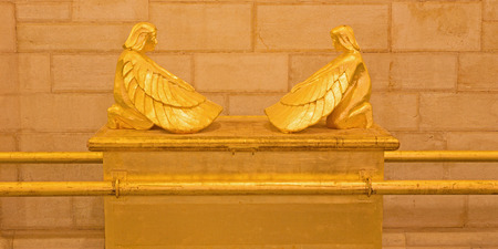 JERUSALEM, ISRAEL - MARCH 3, 2015: The symbolic Ark of the Covenant relief in Evangelical Lutheran Church of Ascension by unknown artist of 20. cent. Editorial