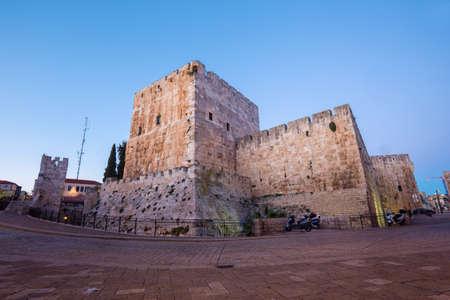 the citadel: Jerusalem - The citadel walls at dusk