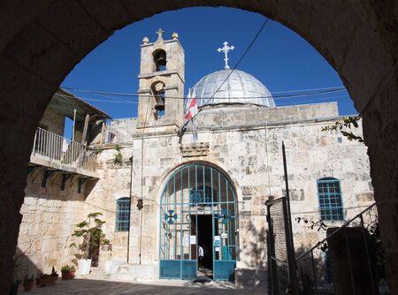 church architecture: JERUSALEM, ISRAEL - MARCH 5 , 2015: The Greek orthodox Church of st. John the Baptist in Christian quarter.
