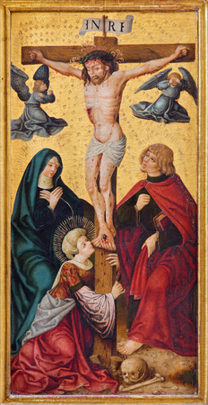 der: NEUBERG AN DER MURZ, AUSTRIA - SEPTEMBER 13, 2015: The paint of Crucifixion on side altar of gothic Dom by unknown artist from year 1505. Editorial
