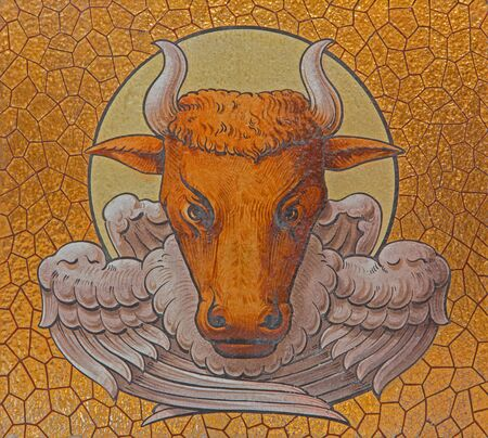 Luke: JERUSALEM, ISRAEL - MARCH 5, 2015: The paint of the bull as symbol of st. Luke the Evangelist  in st. Stephens church church from end of 19. cent. Editorial