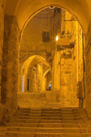 aisle: Jerusalem - aisle in arab quarter at night