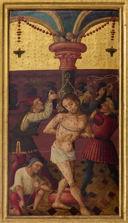 NEUBERG AN DER MURZ, AUSTRIA - SEPTEMBER 13, 2015: The paint of Flageleation of Jesus on side altar of gothic Dom by unknown artist from year 1505.